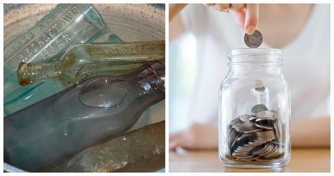 Bottles In Water With Coins In Jar