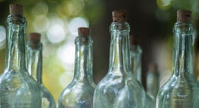 Six Glass Bottles