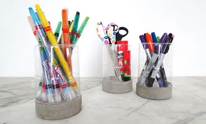 Plastic Bottle Pen Holders