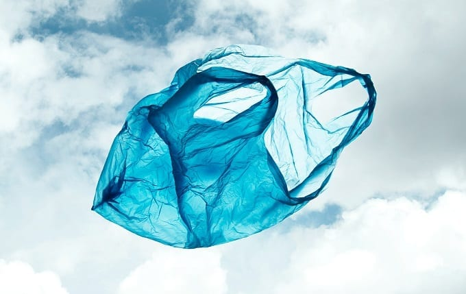 Blue Plastic Bag On The Wind
